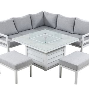 Bari Square Fire-pit Casual Dining Set