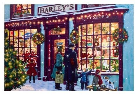 Fibre Optic Family Christmas Shop Scene